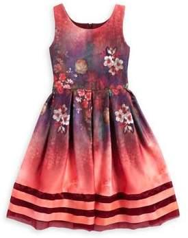 Iris & Ivy Girl's Floral Stripe Scuba-Knit Dress