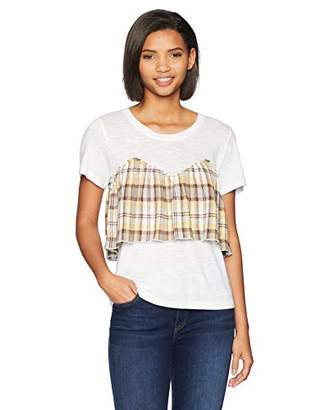 Brooke Mille Women's T-Shirt -Front Patched with Woven Y/D Gauze M
