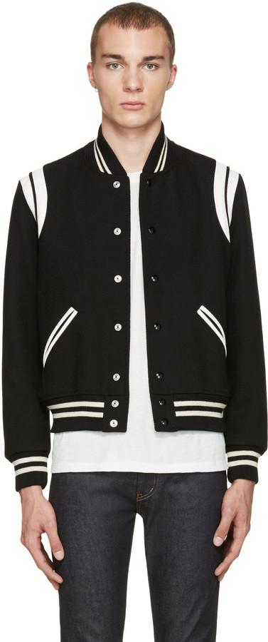 Saint Laurent Black Teddy Bomber Jacket