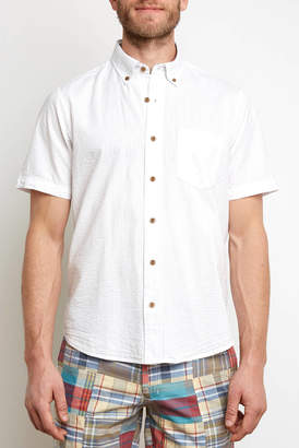Tailor Vintage Linen Seersucker Short Sleeve Button Down
