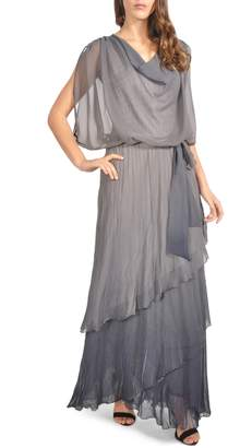 Komarov Drape Chiffon Gown