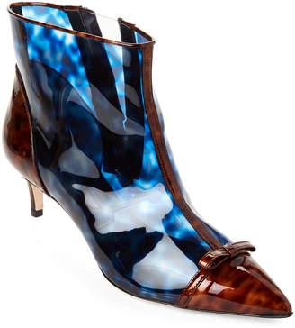 Marco De Vincenzo Blue Tortoiseshell-Look PVC Ankle Booties