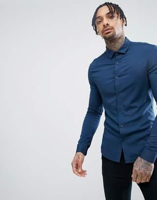 Asos DESIGN skinny viscose shirt in navy