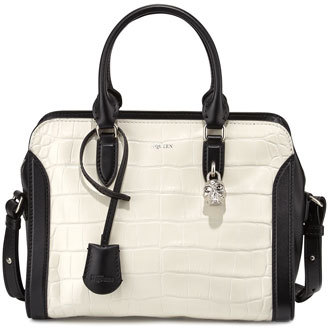 Alexander McQueen Small Croc-Embossed Satchel Bag, White/Black $1,895 thestylecure.com