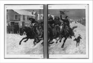 Remington Snapshots of the Past Historic Print (L): Cowboys coming to town for Christmas / drawn by Frederic