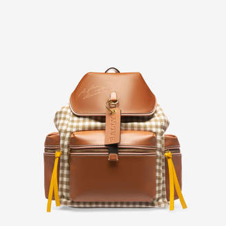 Bally Crew Brown, Women's fabric leather backpack in marrone and bianco