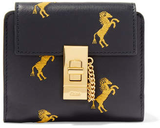 Chloé Drew Embroidered Leather Wallet - Black