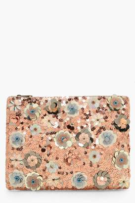 boohoo 3D Embellished Zip Top Clutch