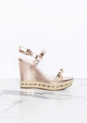569968d6cfce Missy Empire Missyempire Rosalie Rose Gold Stud Wedge Sandal