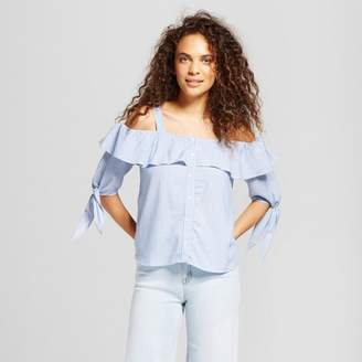 Mossimo Supply Co. Women's Cold Shoulder Top Blue Stripe - Mossimo Supply Co. $19.99 thestylecure.com