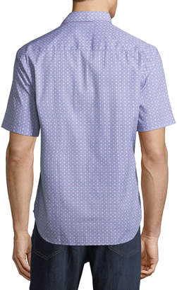 Tailorbyrd Diamond-Dobby Short-Sleeve Sport Shirt