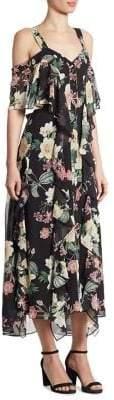 Nicholas Camille Silk Cold-Shoulder Midi Dress