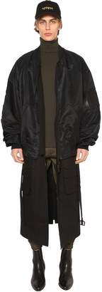 Juun.J Nylon Bomber Jacket W/ Long Panels
