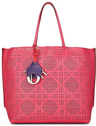 Christian Dior Pink Calfskin Perforated Cannage Dioriva Tote