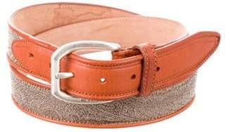 Etro Leather-Trimmed Paisley Belt