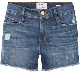 Frame Le Cutoff Distressed Stretch-denim Shorts