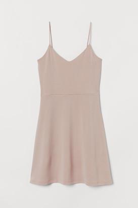 H&M Flared Jersey Dress - Beige