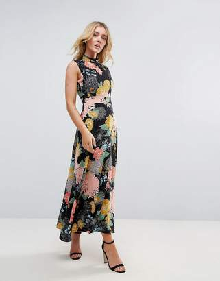 Yumi Flower Print Neck Dress
