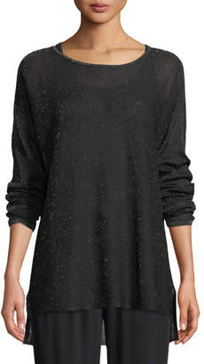 Eileen Fisher Sparkle Crepe Bateau-Neck Tunic Sweater