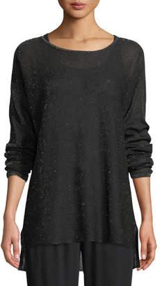 Eileen Fisher Sparkle Crepe Bateau-Neck Tunic Sweater