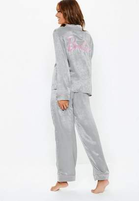 Missguided Barbie X Gray Satin Pyjama Set