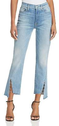 7 For All Mankind Edie Ring-Detail Straight Jeans in Light Riviera