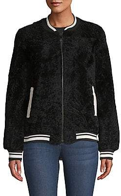 Pologeorgis Women's Shearling Bomber Jacket