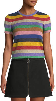 Alice + Olivia Baylor Short-Sleeve Striped Crewneck Top