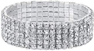 1928 Simulated Crystal Multi Row Stretch Bracelet