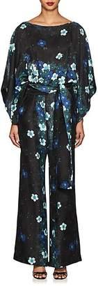 Warm Women's Layla Floral Silk Belted Jumpsuit
