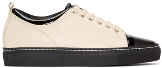 Lanvin Black & Ivory Leather Sneakers $595 thestylecure.com