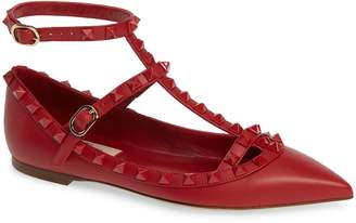 Valentino Rockstud Double Ankle Strap Pointy Toe Flat