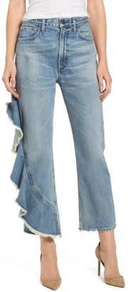 Women's Citizens Of Humanity Estrella Side Ruffle High Waist Ankle Jeans $328 thestylecure.com