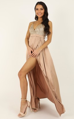 Showpo Sugar Snap Dress in gold sequin - 6 (XS) Bridesmaid