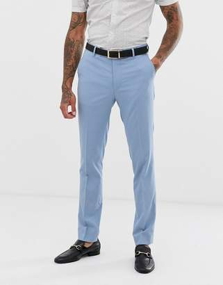 Avail London skinny fit suit pants in light blue