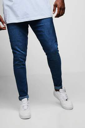 boohoo Big And Tall Blue Slim Fit Washed Jeans