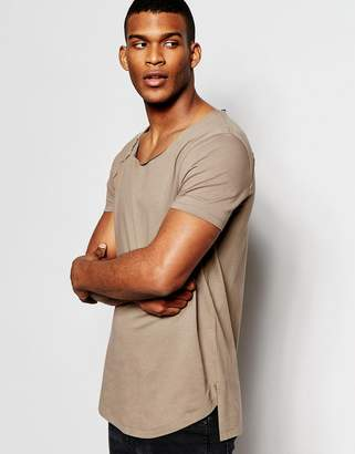 Asos Design Longline T-Shirt With Scoop Neck And Step Hem In Raw Edge