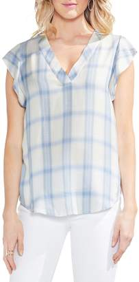Vince Camuto Sapphire Bloom Tartan Blouse