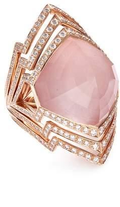 Stephen Webster 'Crystal Haze' diamond crystal 18k rose gold cutout ring