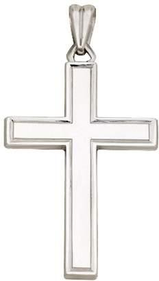 Sterling Square Edge Polished Cross Pendant