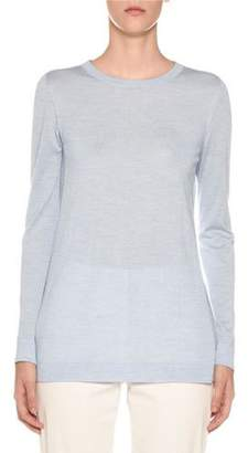 Agnona Crewneck Long-Sleeve Cashmere-Silk Sweater