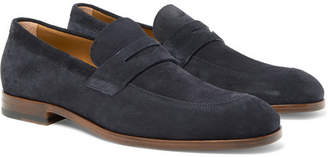 HUGO BOSS Brighton Suede Penny Loafers - Men - Navy