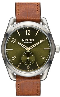 Nixon 'The C39' Leather Strap Watch, 39Mm $300 thestylecure.com