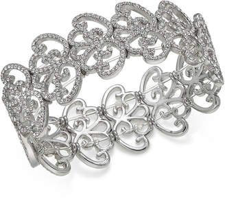 INC International Concepts I.N.C. Silver-Tone Pavé Openwork Stretch Bracelet, Created for Macy's