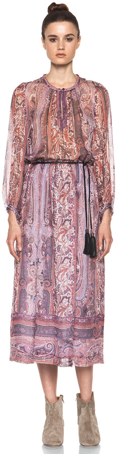 Isabel Marant Samuel Paisley Silk Gauze Maxi Dress in Violet Blue