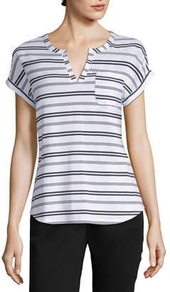 Liz Claiborne Split Neck Pocket Tee - Tall