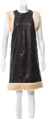 Christopher Kane Sleeveless Fur-Trimmed Dress