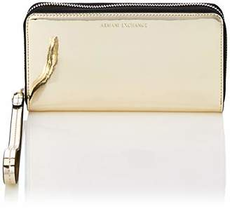 Armani Exchange A|X Metallic Wristlet Roundzip Wallet with Strap