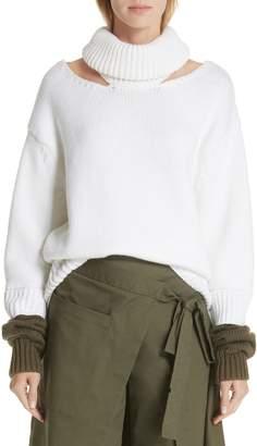 Monse Wool Double-Cuff Cutout Sweater