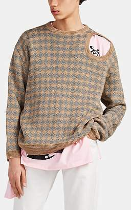 Raf Simons Men's Metallic-Diamond Intarsia-Knit Cutout Sweater - Camel